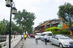 Asia China, Beijing, Shichahai Scenic, Shore landscape Stock Photo