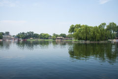 Asia China, Beijing, Shichahai Scenic, summer, Lakeview Stock Photography
