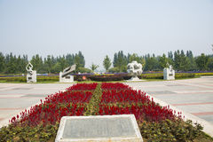 Asia China, beijing, Shunyi flower port, sculpture, ancient four big inventions. China Asia, Beijing, Shunyi flower port, flower square, sculpture, China theme Royalty Free Stock Photo