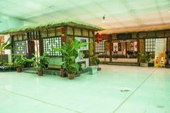 Asia China, Beijing, shunyi flowers port , indoor exhibition hall, the farmhouse, log cabin Royalty Free Stock Photos