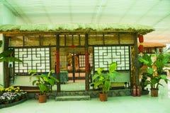 Asia China, Beijing, shunyi flowers port, indoor exhibition hall, the farmhouse, log cabin Stock Photos
