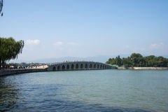 In Asia, China, Beijing, the Summer Palace, The 17-Arch Bridge, a historical building Royalty Free Stock Photos