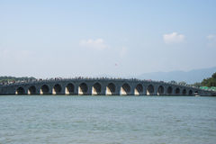 In Asia, China, Beijing, the Summer Palace, The 17-Arch Bridge, a historical building Stock Image