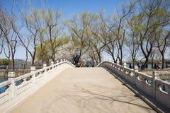 Asia China, Beijing, the Summer Palace, royal garden, spring scenery, Stone Bridge Royalty Free Stock Image