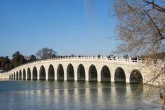 Asia China, Beijing, the Summer Palace, Seventeen hole bridge Stock Photography