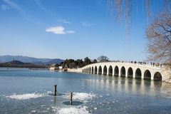 Asia China, Beijing, the Summer Palace, Seventeen hole bridge Royalty Free Stock Images