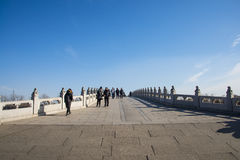 Asia China, Beijing, the Summer Palace, Seventeen hole bridge Stock Photos