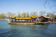 Asia China, Beijing, the Summer Palace, spring scenery,Dragon Boat Royalty Free Stock Photo