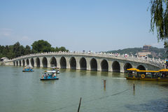 Asia China, Beijing, the Summer Palace, the summer landscape, the marble seventeen-arch bridge which Stock Image