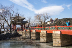 Asia China, Beijing, the Summer Palace, winter architecture and landscape Stock Photo