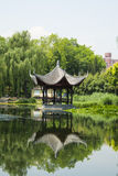 Asia China, Beijing, Taoranting Park, pavilion, summer landscape Stock Photos