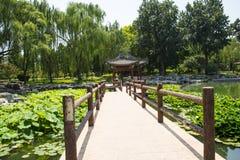 Asia China, Beijing, Taoranting Park,summer landscape,The pavilion, wooden railings Stock Photo