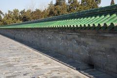 Asia China, Beijing, Tiantan Park,Glazed tile and brick wall. Asia China, Beijing, Tiantan Park, the Royal Garden,Antique architectural style, green glazed Royalty Free Stock Photos