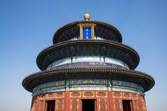 Asia China, Beijing, Tiantan Park,QiNianDian. Asia China, Beijing, Tiantan Park, the Royal Garden,QiNianDian, classical architecture, circular temple Royalty Free Stock Photos