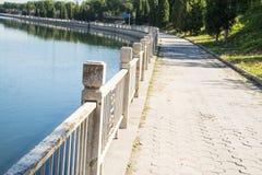 Asia China, Beijing,  Tonghuihe, stone railings, sidewalks. Tonghuihe, city leisure places, railings, sidewalks Royalty Free Stock Photo