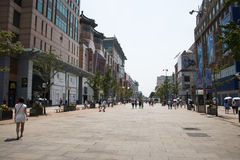 Asia, China, Beijing Wangfujing street, commercial street. China and Asia, Wangfujing street, the most famous commercial street in Beijing, the street now has Stock Image
