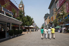 Asia, China, Beijing Wangfujing street, commercial street. China and Asia, Wangfujing street, the most famous commercial street in Beijing, the street now has Stock Photos