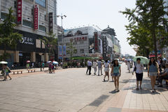Asia, China, Beijing Wangfujing street, commercial street. China and Asia, Wangfujing street, the most famous commercial street in Beijing, the street now has Stock Photo