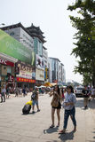 Asia, China, Beijing Wangfujing street, commercial street. China and Asia, Wangfujing street, the most famous commercial street in Beijing, the street now has Royalty Free Stock Photo