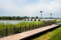 Asia China, Beijing WanPinghu Park, Scenery of gardens, Trail, wooden railings Stock Images