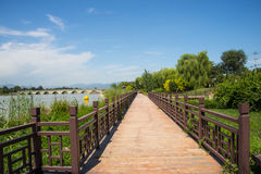 Asia China, Beijing WanPinghu Park, Scenery of gardens, trails, wood railings Stock Image