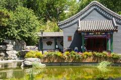 Asia China, Beijing, Wanshou Park, Landscape architecture, Pavilion. Asia China, Beijing, Wanshou Park, city park, Landscape architecture, antique style pavilion Stock Images