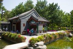 Asia China, Beijing, Wanshou Park, Landscape architecture, Pavilion. Asia China, Beijing, Wanshou Park, city park, Landscape architecture, antique style pavilion Royalty Free Stock Images