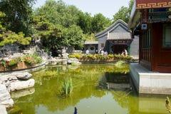 Asia China, Beijing, Wanshou Park, Landscape architecture, Pavilion. Asia China, Beijing, Wanshou Park, city park, Landscape architecture, antique style pavilion Stock Image