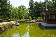 Asia China, Beijing, Wanshou Park, Landscape architecture, Pavilion. Asia China, Beijing, Wanshou Park, city park, Landscape architecture, antique style pavilion Stock Photo