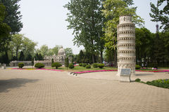 Asia China, Beijing, the world park,miniature landscape,the Leaning Tower of Pisa ; Royalty Free Stock Image