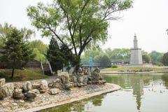 Asia China, Beijing, the world park,miniature landscape,TAlexander Lighthouse Stock Photo