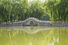 Asia China, Beijing, xinglong park, lake view, Stone Bridge Royalty Free Stock Images
