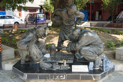 Asia China, Beijing, xuannan cultural museum, Landscape sculpture, play Chinese chess Royalty Free Stock Photography