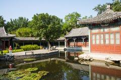 Asia China, Beijing, Xuanwu Yiyuan, garden building, waterside pavilion, Stock Images