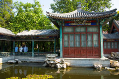 Asia China, Beijing, Xuanwu Yiyuan, summer landscape, Courtyard, waterside pavilion, Royalty Free Stock Photos