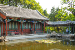 Asia China, Beijing, Xuanwu Yiyuan, summer landscape, Courtyard, waterside pavilion, Stock Images