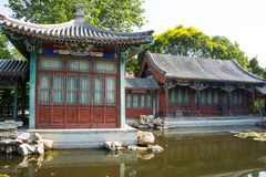 Asia China, Beijing, Xuanwu Yiyuan, summer landscape, Courtyard, waterside pavilion, Royalty Free Stock Images