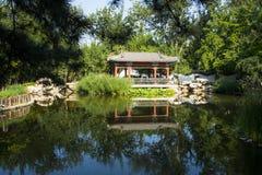 Asia China, Beijing, Xuanwu Yiyuan, summer landscape, waterside pavilion, Royalty Free Stock Photo