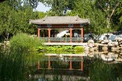 Asia China, Beijing, Xuanwu Yiyuan, summer landscape, waterside pavilion, Royalty Free Stock Image
