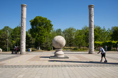 Asia China, Beijing, Yang Shan Park, totem pole. Asia China, Beijing, Yang Shan Park, small square, two rows, a total of 12 pillars. There is a stone in the royalty free stock photography