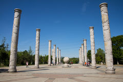 Asia China, Beijing, Yang Shan Park, totem pole. Asia China, Beijing, Yang Shan Park, small square, two rows, a total of 12 pillars. There is a stone in the royalty free stock photo