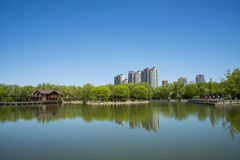 Asia, China, Beijing, yangshan park, Lake view, wooden house Royalty Free Stock Images