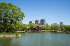 Asia, China, Beijing, yangshan park, Lake view, wooden house Royalty Free Stock Photography