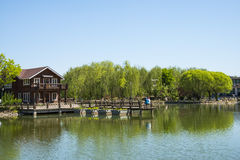 Asia, China, Beijing, yangshan park, Lake view, wooden house Stock Photography