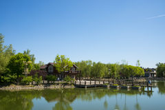 Asia, China, Beijing, yangshan park, Lake view, wooden house Royalty Free Stock Photo