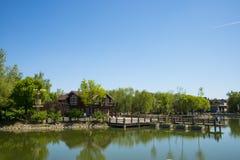 Asia, China, Beijing, yangshan park, Lake view, wooden house Royalty Free Stock Photo