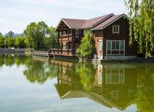 Asia, China, Beijing, yangshan park, Lake view, Wooden Houses Stock Photo