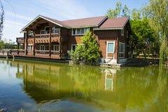 Asia, China, Beijing, yangshan park, Lake view, Wooden Houses Royalty Free Stock Photo