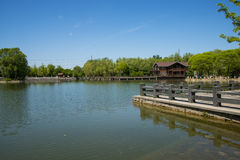 Asia, China, Beijing, yangshan park, Lake, wooden house,, stone railings Stock Photos