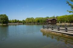 Asia, China, Beijing, yangshan park, Lake, wooden house,, stone railings Stock Photos
